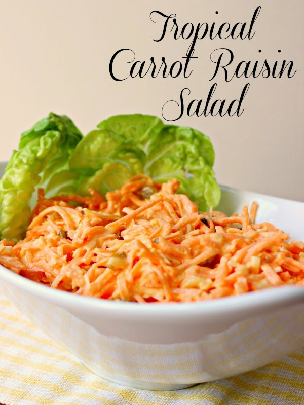 Tropical Carrot Raisin Salad:  Classic Carrot Raisin Salad with a tropical flare!  #carrots #salad