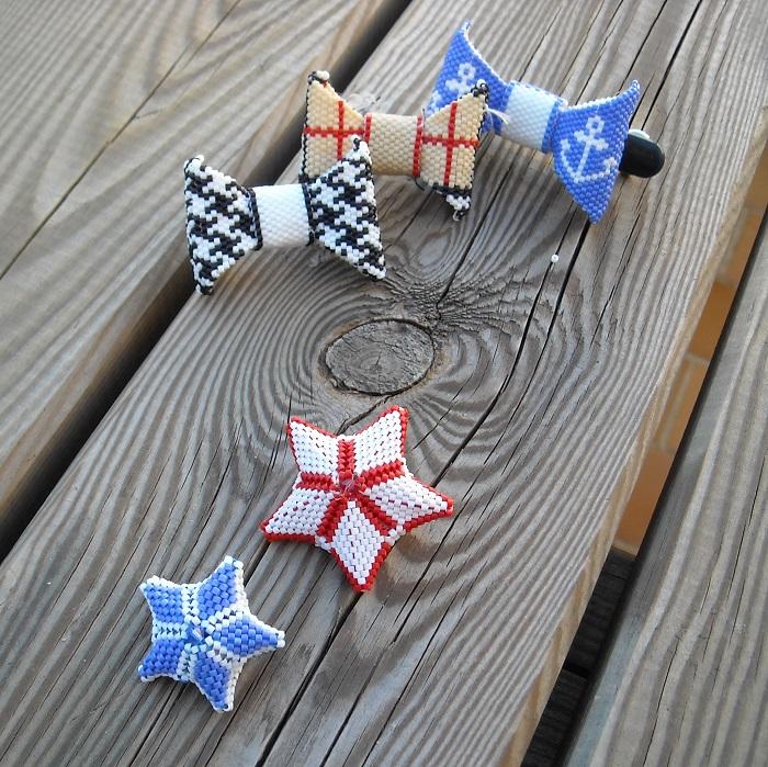 Noeuds et étoiles 3D en perles Miyuki par Hello c'est Marine réalisations de 2011