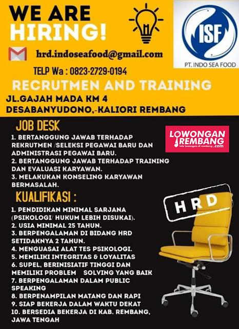 Lowongan Kerja HRD PT Indo Seafood Rembang
