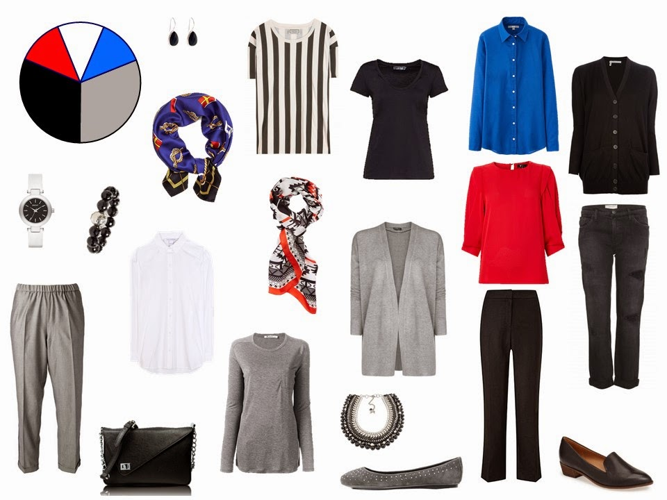 11 piece travel capsule wardrobe in grey, black, blue and red