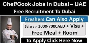 Cook and Chef Jobs Recruitment in Dubai for Hotel and Restaurants Company