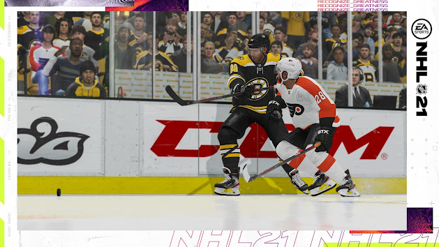 NHL 21 from EA Sports Bruins and Flyers snapshot