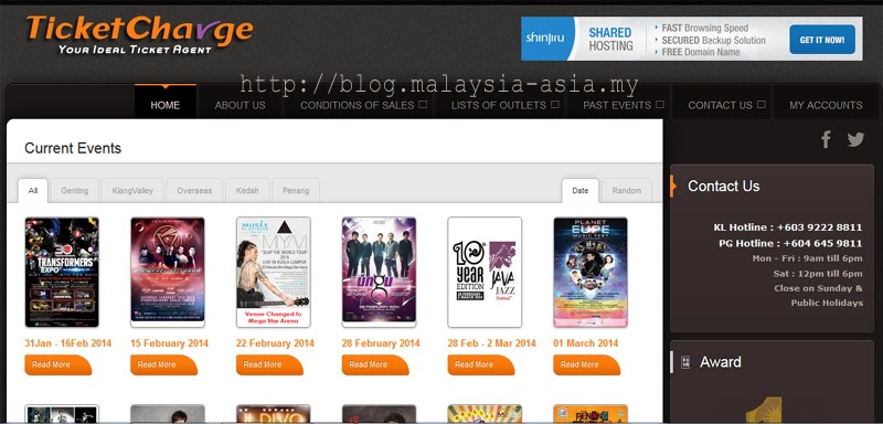 TicketCharge Malaysia Website