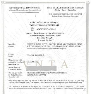 Mẫu giấy Chứng nhận hợp quy cho thiết bị định tuyến Router