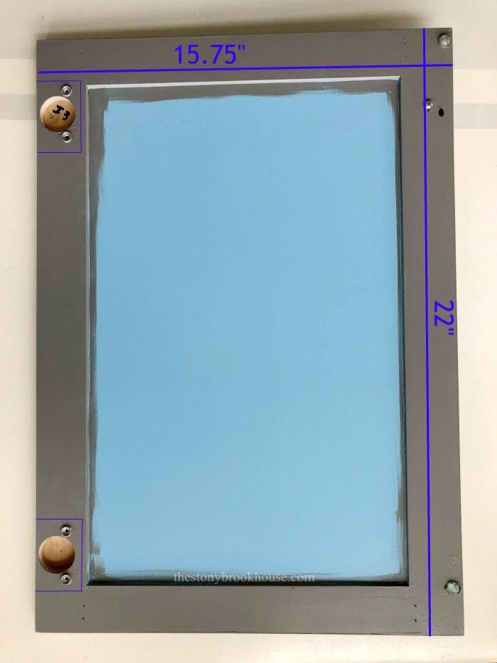 Cabinet door with measurements