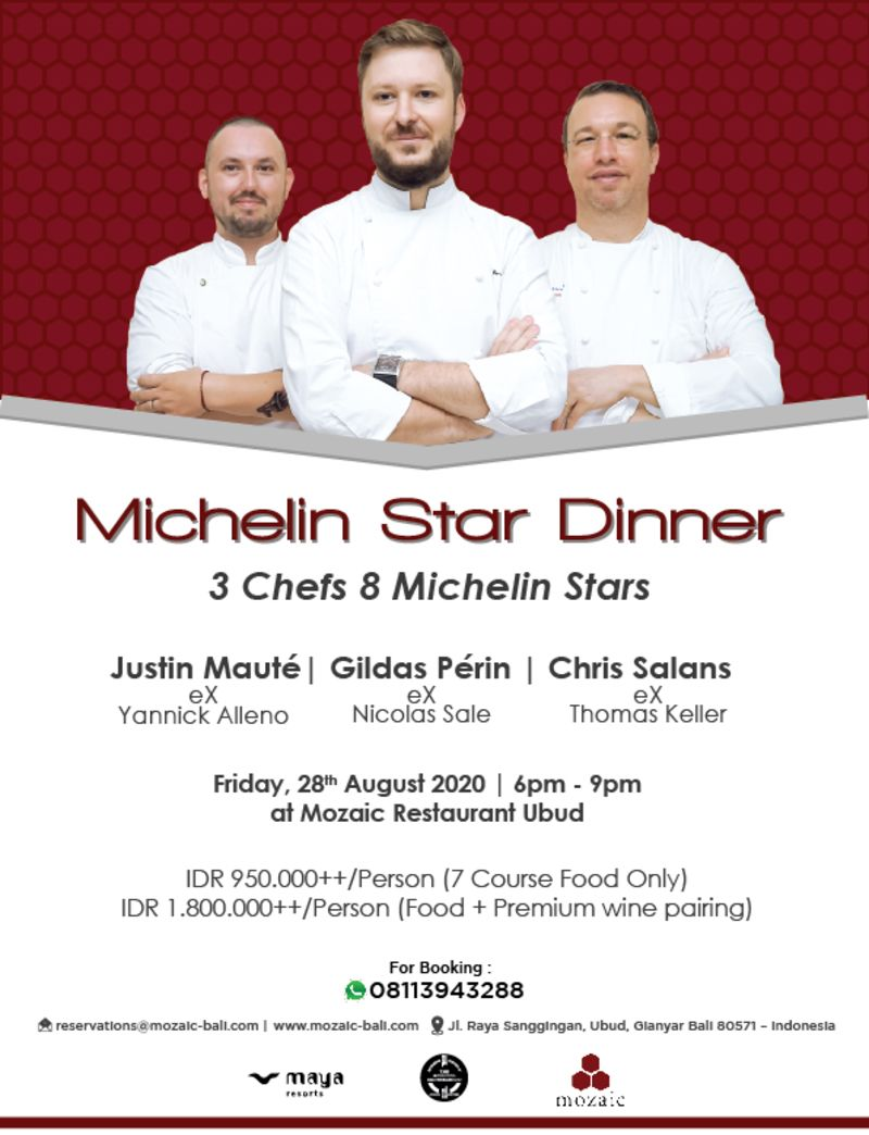 3 Chefs. 8 Michelin Stars at Mozaic restaurant gastronomique, Ubud