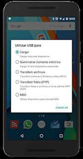 Opciones USB de un Nexus 5x Marshmallow
