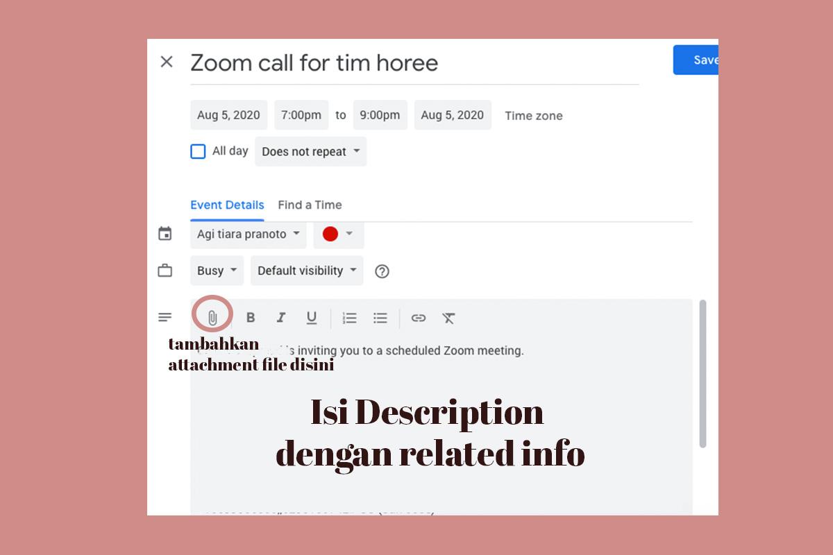 menambahkan description google calendar
