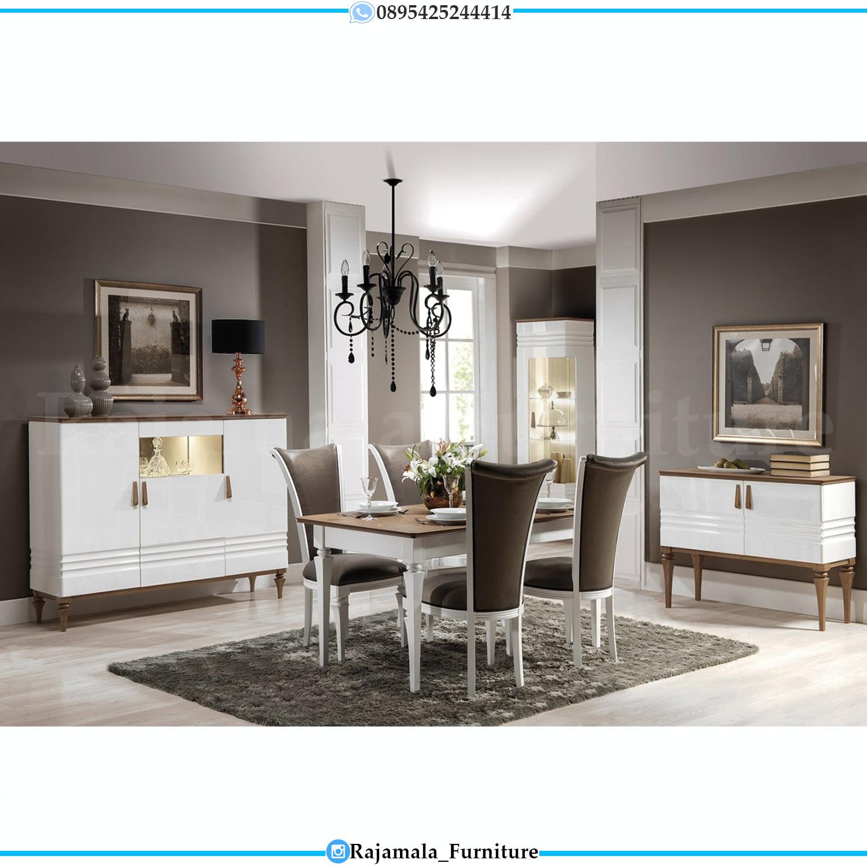 Meja Makan Minimalis Jepara Kursi 4 Putih Duco Terbaru RM-0136