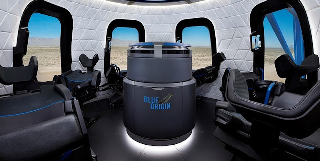 An artist's rendering of the interior of the New Shepard capsule. Image Credit: Blue Origin