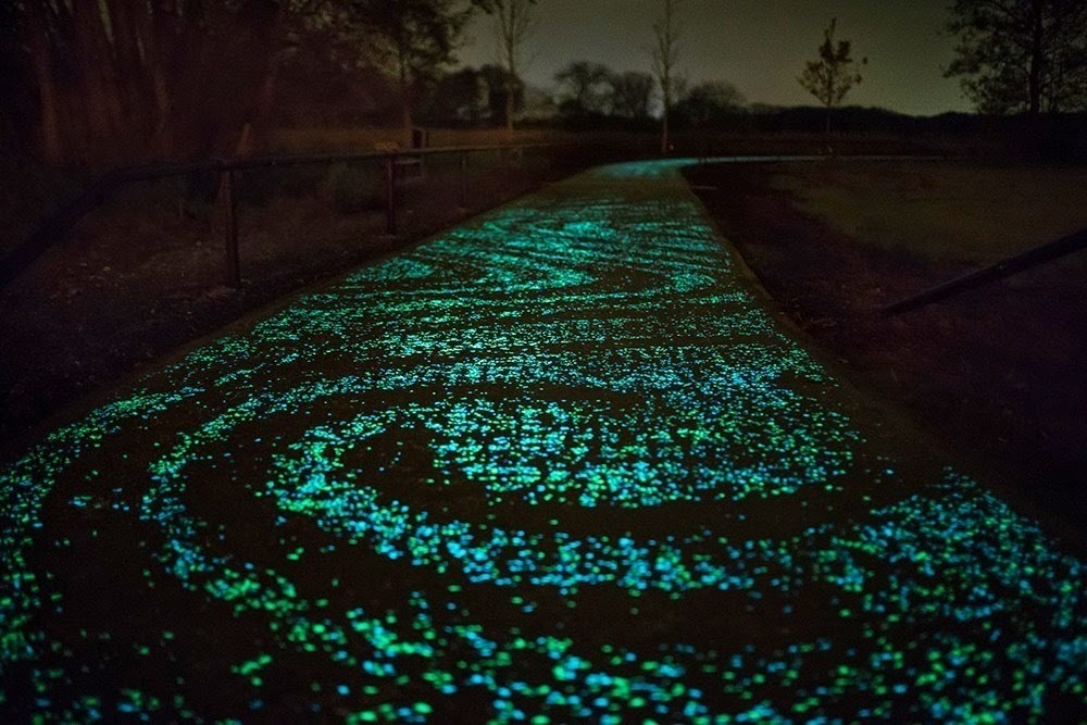 The bike path is a kilometer-long. - Here's The Coolest Place For A 'Starry Night' Bike Ride.