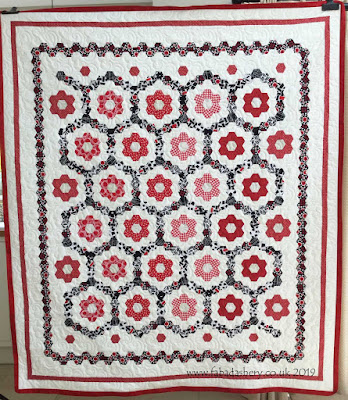 Gwinith's Red, White and Black Hexagon Quilt