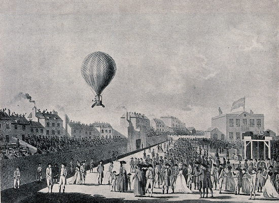 Lunardi's balloon rising from the Artillery Ground - 15 September 1784 Image courtesy of the Wellcome Collection, released via Creative Commons BY 4.0