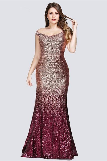 ombre seuqins plus size prom dress