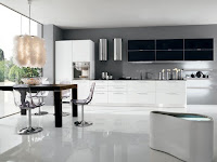 Modern White Floor Kitchen with Black and White Cabinet