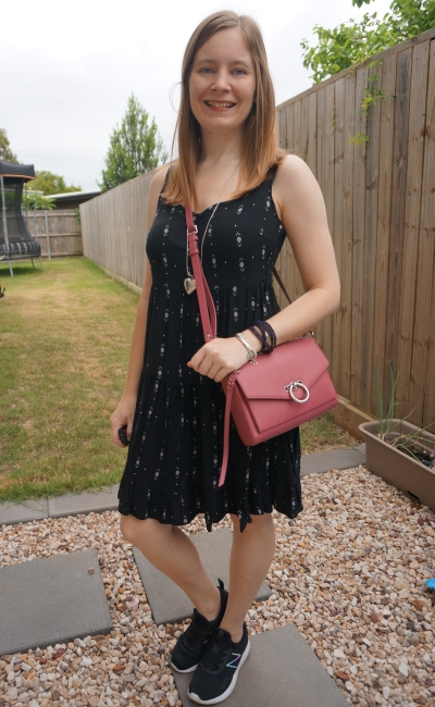 Kmart Aztec print tiered little black dress for summer with New balance coast sneakers and pink rebecca minkoff jean mac bag | away from blue