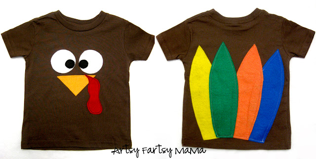 DIY Turkey Shirt at artsyfartsymama.com #turkey #Thanksgiving #kids