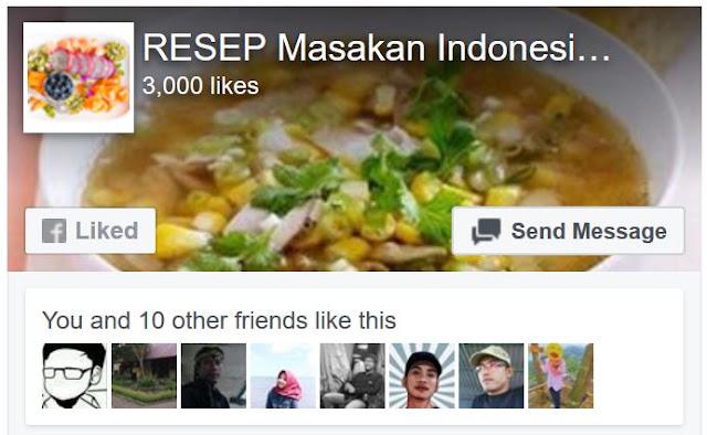 Akhirnya Halaman  Resep Masakan Indonesia Terbaik Mencapai 3000 like