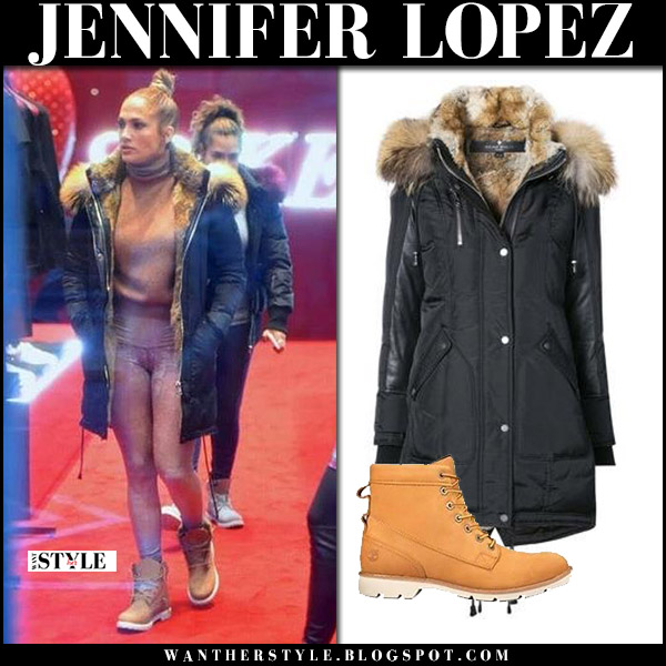 Jennifer Lopez in black fur trim parka nicole benisti chelsea and brown boots timberland bramhall winter fashion december 5