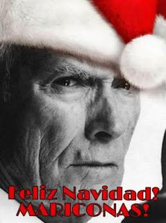 Clint Eastwood felicita Navidad, mariconas