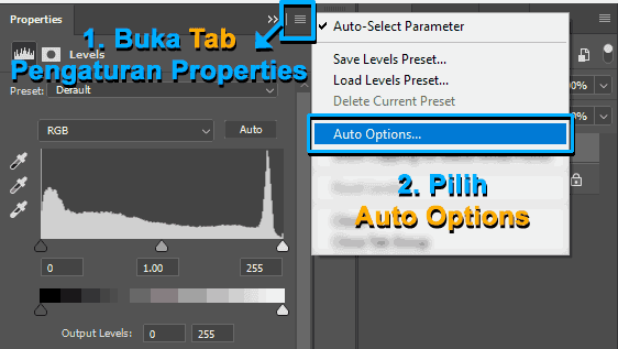 Membuka pengaturan Auto Options di Photoshop