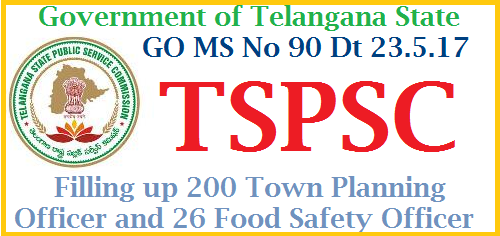 GO MS No 90 Filling up 226 Town Planning Officers and Food Inspector Posts in GHMC Telangana Recruitment Process in Telangana getting Speeed in various Dept of Telangana State Govt 200 Town Planning Officers and 26 Food Inspectors ( Food Safty Officers ) Posts to be Recruited by TSPSC.Notificatin to issued shortly. Telangana Govt has instructed Telangana Public Service Commission to take up process to Fill up 226 Various Posts in Greater Hyderabad Muncipal Corporation GHMC Public Services – MA&UD Department - Recruitment – Filling of (226) two hundred and twenty six vacant posts in the Greater Hyderabad Municipal Corporation (GHMC) through the Telangana State Public Service Commission, Hyderabad - Orders – Issued. go-ms-no-90-filling-up-226-town-planning-officers-food-safty-ghmc-telangana