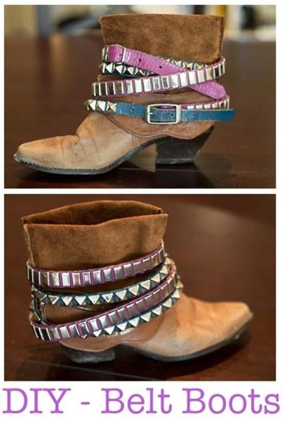 Gunakan sabuk bekas untuk makeover sepatu boot
