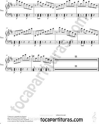Piano Partitura 2 de Fantasía Tartesa Sheet Music for Piano Music Scores