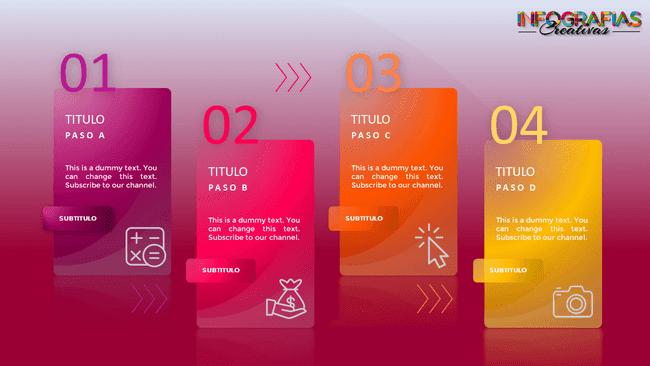 Plantilla de infografía dinámica de cuatro pasos