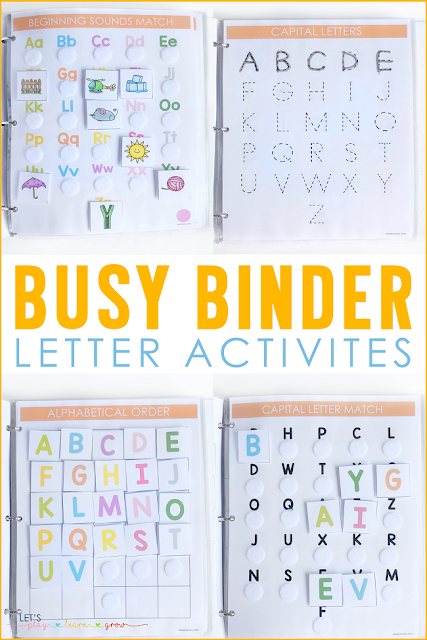 Busy Binder Letter Activities