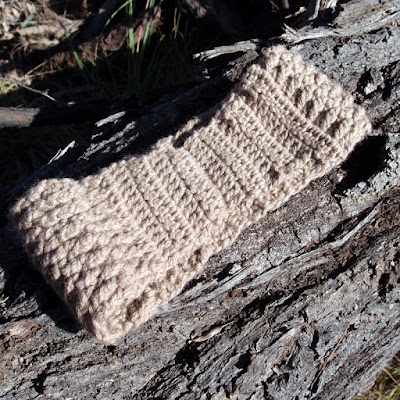 eight acres: front post crochet ear warmer and drink bottle holder