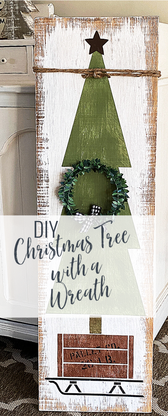 Pinterest pin with overlay of tree on a sled