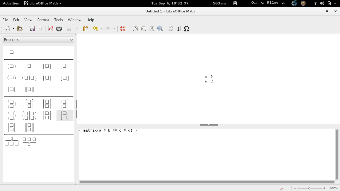 Ubuntu Buzz !: LibreOffice Math: Writing Matrix with Examples