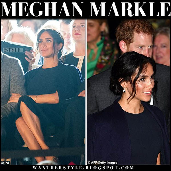 Meghan Markle in black coat and dark navy cape dress stella mccartney royal visit australia october 20 style
