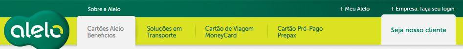 Tela de Login do site Alelo Card