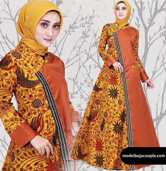 Gamis Batik Kombinasi Polos Couple Gambar Islami