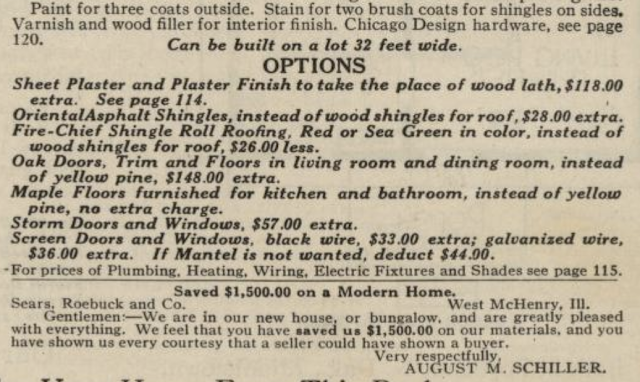 written description of options for the Sears Argyle in 1921 Sears Modern Homes catalogue