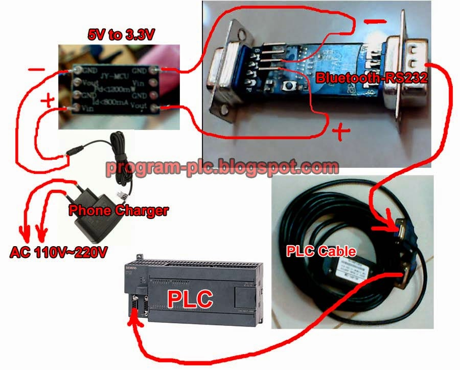 Wiring of Bluetooth to RS232 converter HC 06 to PLC