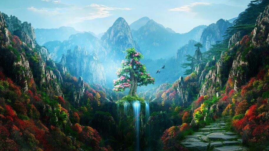 Colorful, Forest, Nature, Fantasy, Spring, Autumn, Digital Art, 4K, #4.1992
