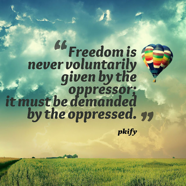 Freedom Is Never Voluntarily Given by the Oppressor It Must Be Demanded by the Oppressed Freedom Quotes