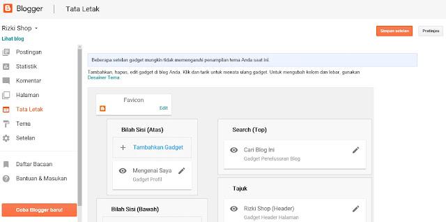 Cara mengatur tata letak dan layout blogspot Blogger
