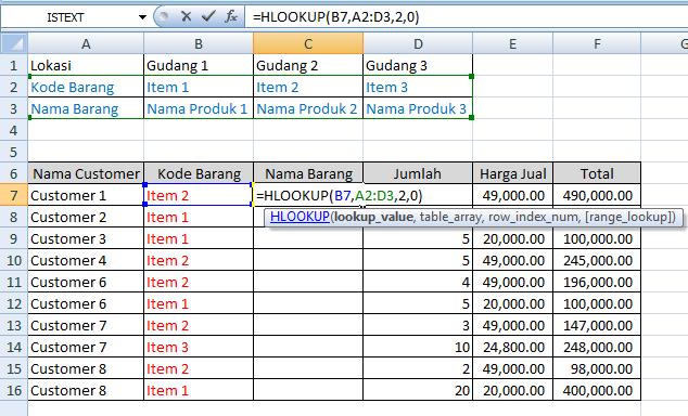 Menggunakan Fungsi HLOOKUP Pada Microsoft Excel