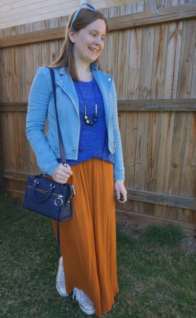 navy and orange outfit denim jacket cobalt knit ochre maxi skirt winter mum style | away from blue