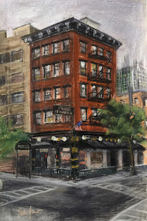 street scene, NYC tavern, city pastel