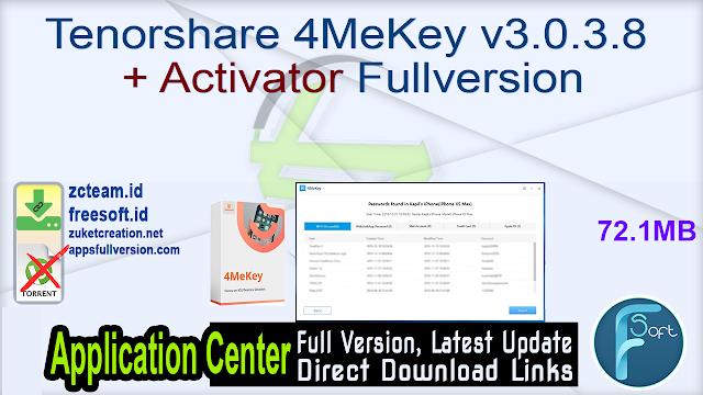 Tenorshare 4MeKey v3.0.3.8 + Activator Fullversion