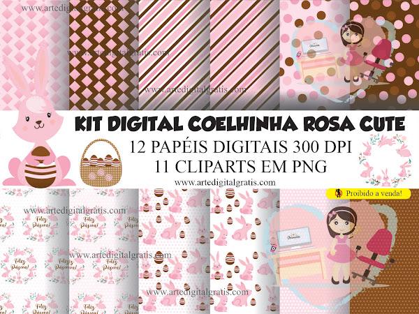 KIT DIGITAL COELHINHA ROSA CUTE GRÁTIS