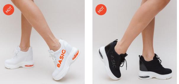 Adidasi albi, negri cu talpa inalta alba cu perna de aer