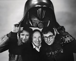 Mel Brooks con Rick Moranis y Bill Pullman en el rodaje de Spaceballs