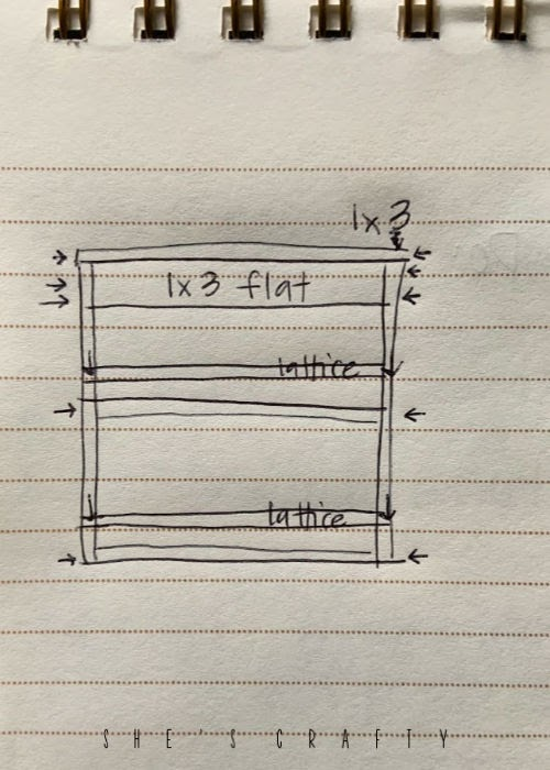 Rough Sketch of wall mounted dish rack made from wood