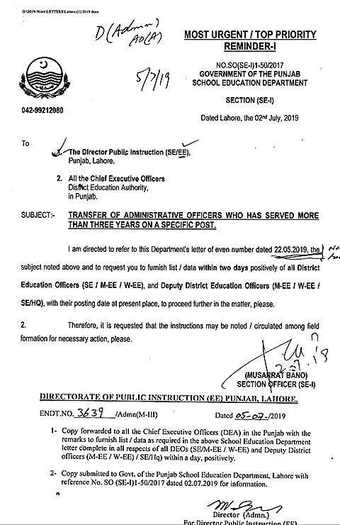 TRANSFER OF ADMINISTRATIVE OFFICERS OF EDUCATION DEPARTMENT